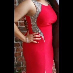 Red and beige formal dress